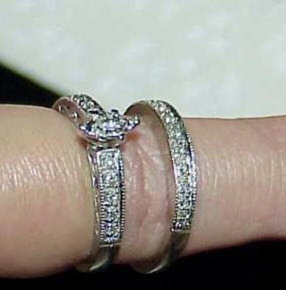 10K .50ct Diamond Marquise 2 Ring Wedding Engagement Set White Gold Size 7 Band