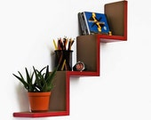 Romantic Ruby Ladder-Shaped Leather Shelf / Bookshelf / Floating Shelf TRI-WS060-WAV