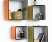 Vibrant Spring Square Leather Wall Shelf / Bookshelf / Floating Shelf (Set of 4) TRI-WS033-SQU