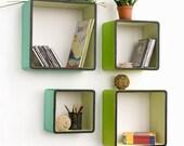 Infinite Vitality Square Leather Wall Shelf / Bookshelf / Floating Shelf (Set of 4) TRI-WS028-SQU