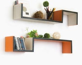Tangerine Breeze S-Shaped Leather Wall Shelf / Bookshelf / Floating Shelf (Set of 2) TRI-WS072-BOW