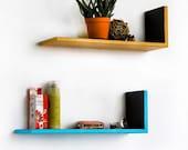 Yellow & Blue Round Dot  L-Shaped Leather Shelf / Bookshelf / Floating Shelf (Set of 2)    TRI-WS075-DL