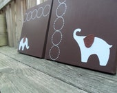 Elephant Nursery Decor Brown and Blue Elephants Set of 2 10x10 paintings