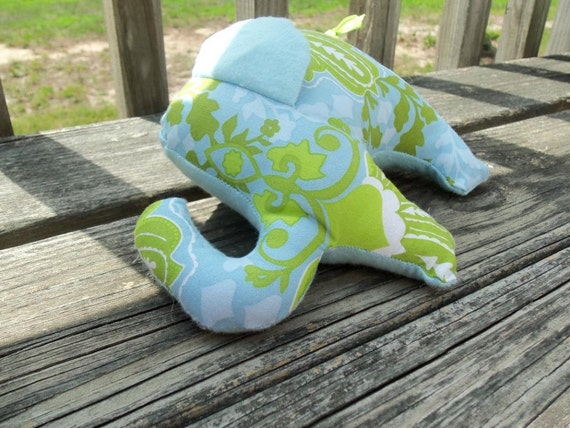 Elephant Toy, Blue and Green Damask with Blue Flannel, Repurposed Materials