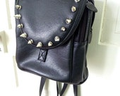 Spiked Mini Backpack- Faux Leather, Goth, Hipster, Upcycled