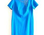 RESERVED XXL Plus Size Blue 50s/60s Cocktail/ Day Dress w/ Gorgeous Detail by Jeunesse