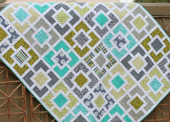 Garden Fence Quilt Lime Teal And Charcoal Gray Lap Couch