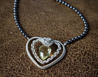 Ready to Ship - Lemon Quartz Sterling Silver Heart Necklace Pendant with Charcoal Swarovski Pearls - Handcrafted, OOAK, One Of A Kind