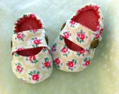 "Baby ""Harriette"" pumps. All 100%  cotton, fully lined. Cath Kidston style fabric."