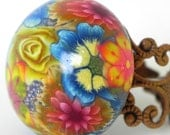 Blue Yellow Pink Floral Ring - Copper Filigree Adjustable Ring - Polymer Clay