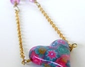 Mother's Day Sale -  Heart Swing Necklace with Pink and Teal Flowers