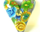 5 Buck Stocking Stuffers - Yellow Green Blue Flowers - Polymer Clay Heart - Pendant/Bead
