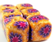 6 Square Handmade Polymer Clay Beads - Yellow Purple Pink Flower