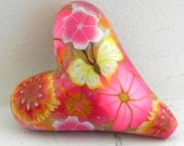Yellow Pink Orange Floral Butterfly Heart Bead/Pendant - Romantic Floral -  Handmade Polymer Clay Heart