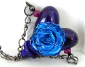 Sweet Romance Rose Heart Necklace - Teal Rose on a Purple Heart - Handmade Polymer Clay