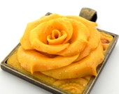 Glittery Yellow Rose on Square Brass Pendant - Mother's Day Gift -