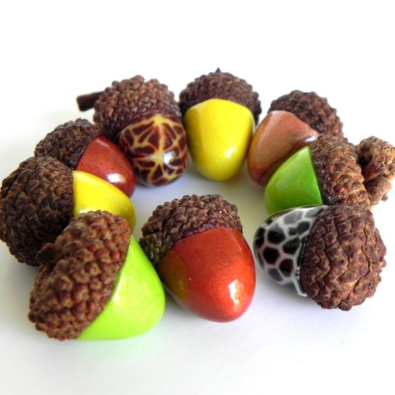 Acorn Decorations - Funky Acorn Mix - Polymer Clay