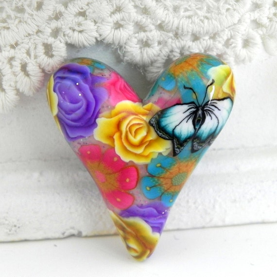 Aqua Yellow Pink Purple Floral Butterfly Heart Bead/Pendant - Romantic Floral -  Handmade Polymer Clay Heart