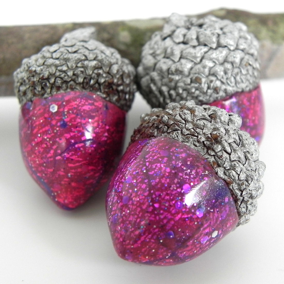 Acorn decorations 3 sparkley pink acorns handmade polymer for Acorn decoration