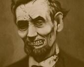 Zombie Abraham Lincoln Print 8.5x11