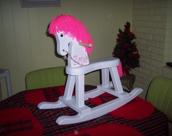 Personalized Toddler Rocking Horse-white with hot pink mane