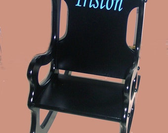 Kids Rocking Chair - Black with blue personalization