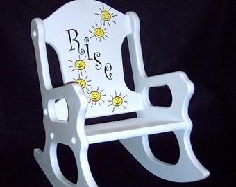 Wooden Kids Rocking Chair Fleur De Lis