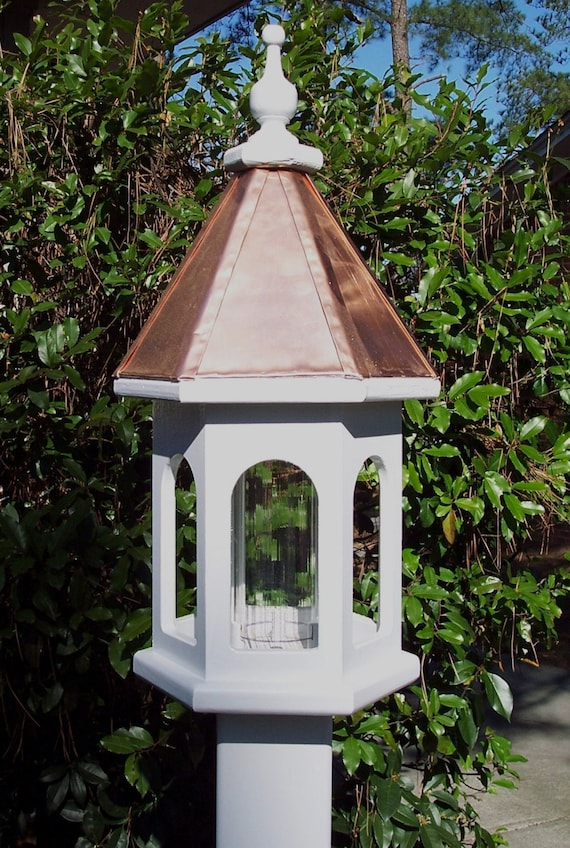 Handcrafted Wood Bird Feeder With Copper Roof By Weaverwood