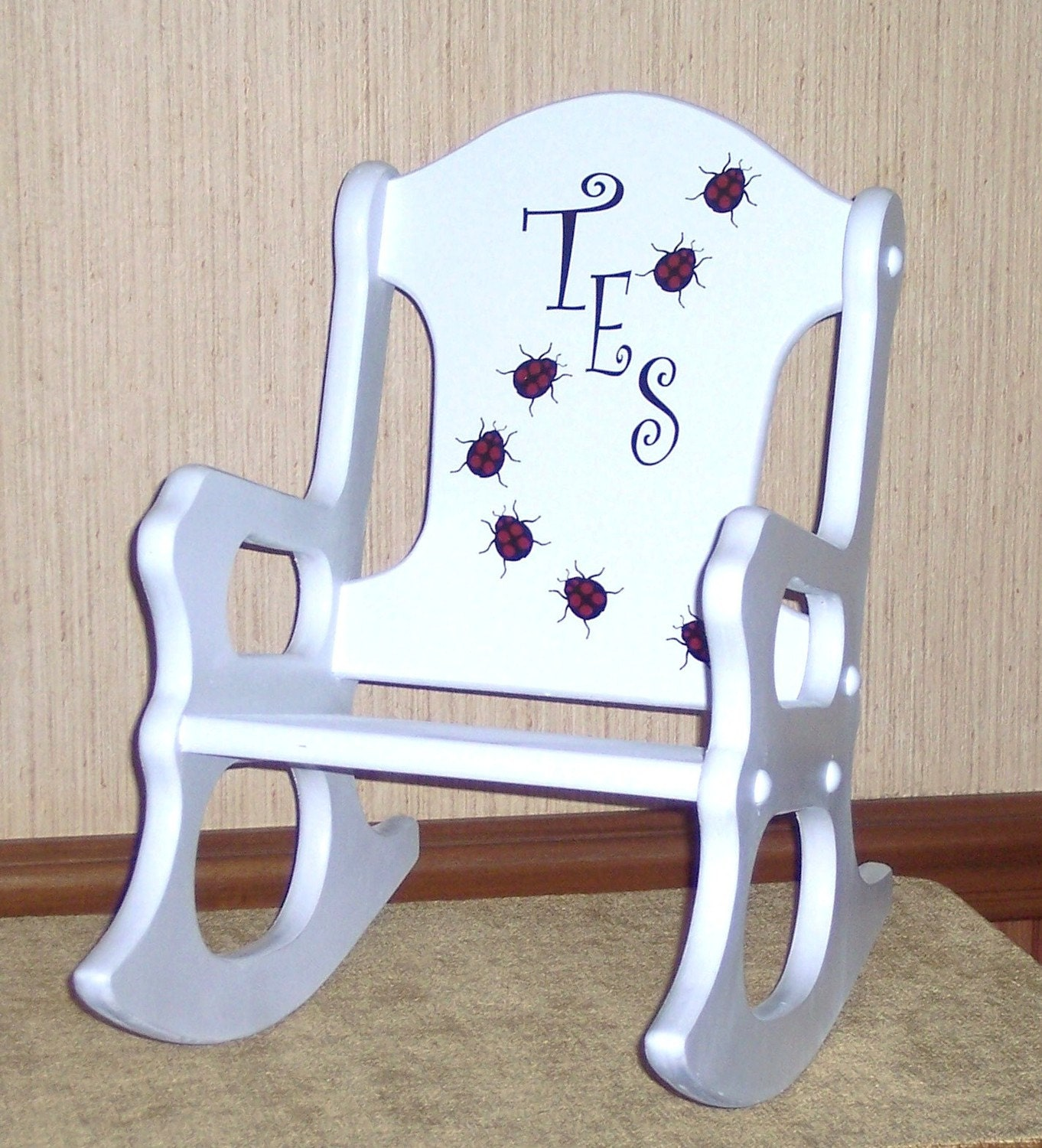 Personalized toddler rocking chair ladybugs by weaverwood for Toddler chair