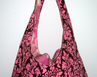 Pink and Brown Reversible Tote Bag