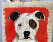 ADOPT Rescue Donation Dog Lover Pit Bull Hand Painted Large Machine Washable Tote bag