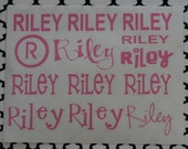 Two Personalized Vinyl Name Sheets (Pick GIRLY or BOYISH) with MONOGRAM