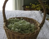 Easter Basket GRASS or Filler, Vintage Chenille Bedspread, green, pastels, pink, yellow, blue peach, Easter bunny, decoration