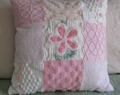 Darling Pink Chenille Pillow, 9-patch, vintage