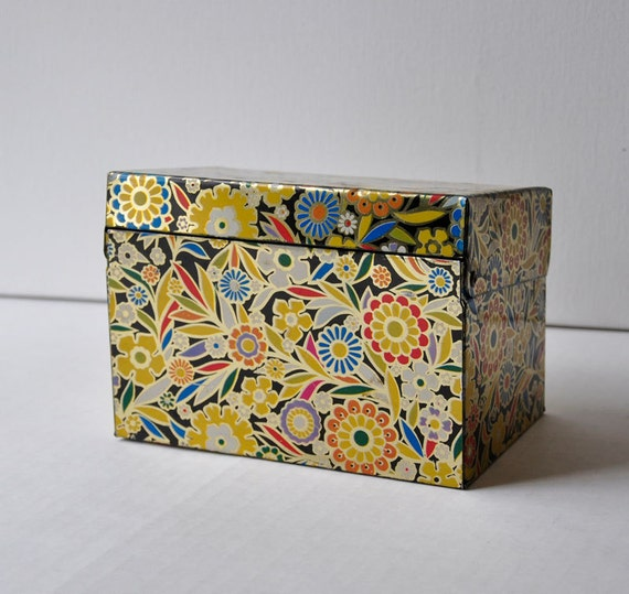 Vintage 70s Floral Metal Tin Recipe Box