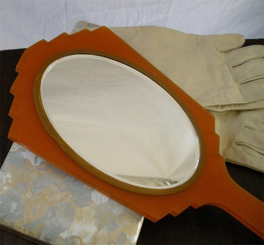 Vintage Bakelite Lucite Deco Hand Mirror
