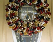 SALE---Burgundy, Red, Gold, and Green Ribbon Christmas Wreath