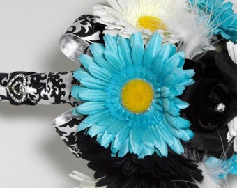 Turquiose Blue, White, Black and Damask Bouquet with Matching Boutineer
