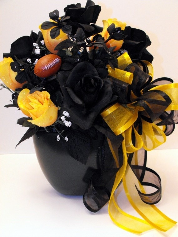Black N Gold Pittsburgh Steelers Floral By Poseysandpetals On Etsy