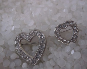 Vintage rhinestone brooch, vintage heart, set of two