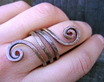 Hammered Copper Spiral Double Wrap Ring Size 8