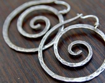 Hammered Sterling Silver Spiral Hoop Earrings. Rustic Silver Spiral Earrings.