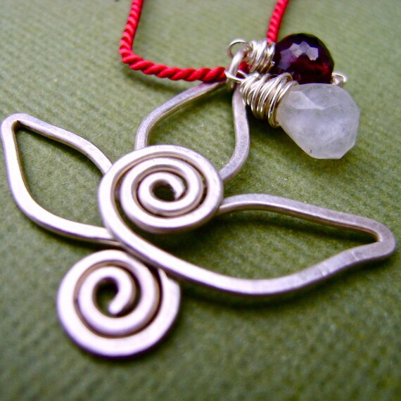 Sterling Silver, Moonstone and Garnet Little Lotus Necklace. Jewelry by FullSpiral on Etsy
