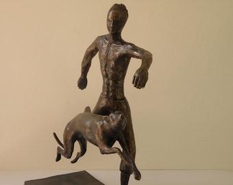 Boy and dog, an original bronze sculpture