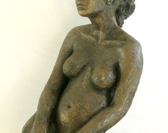 A sitting nude model -  bronze sculpture - free shipping
