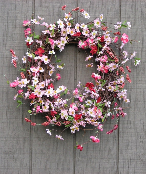 Spring Wreath Pink Apple Blossom
