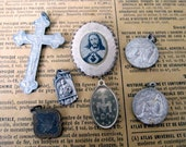 french antique religious medals, pendants RESERVED FOR MARLENE