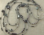 Long Multi-strand Black and Gray Necklace and Matching Earrings