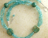Teal Kazuri Bead and Double Strand Teal-colored Apatite Gemstone Necklace