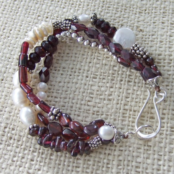 Garnet and White Freshwater Pearl Bracelet Multi-strand with Sterling Silver Beads